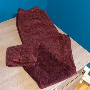LOFT Red with Black Patterned Super Skinny Pant